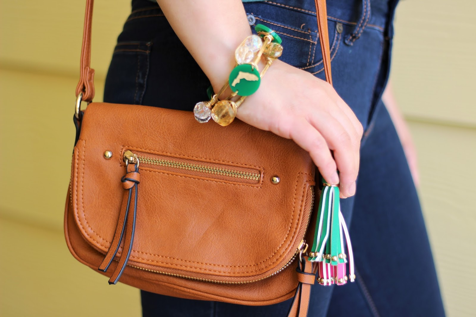 cognac crossbody purse
