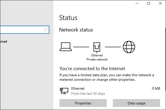 خيارات حالة الشبكة الجديدة لـ Windows 10 20H1.
