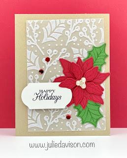 Stampin' Up! Poinsettia Petals Christmas Card ~ August-December 2020 Mini Catalog ~ www.juliedavison.com #stampinup #christmas