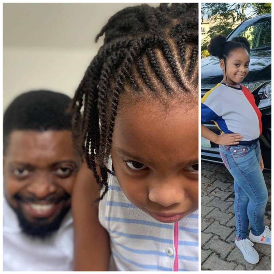 Nigerian Comedian Bright Okpocha popularly known as Basketmouth, is celebrating his first daughter, Amy, as she turns a year older, today, May 3.