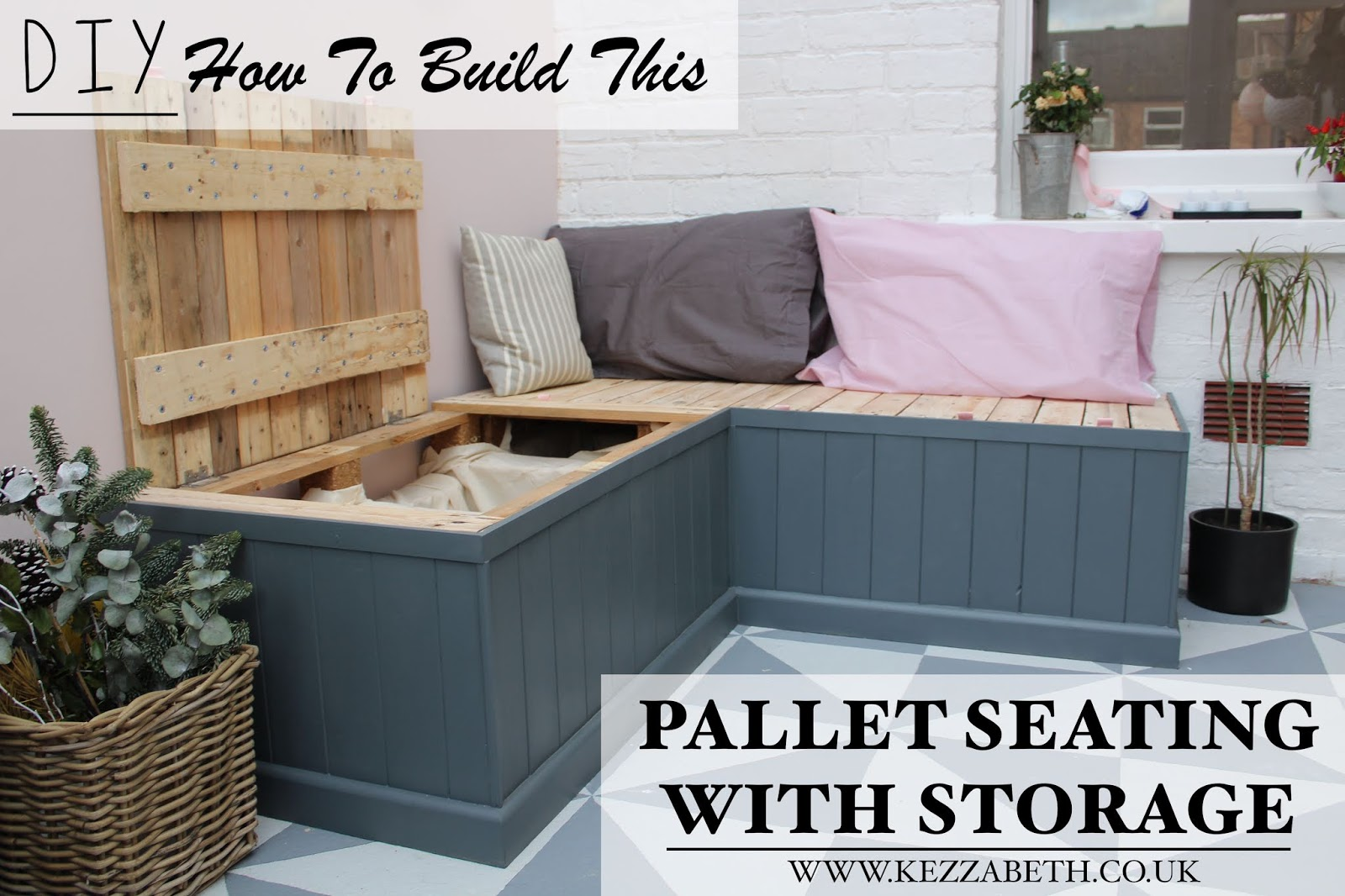 DIY pallet seating with storage