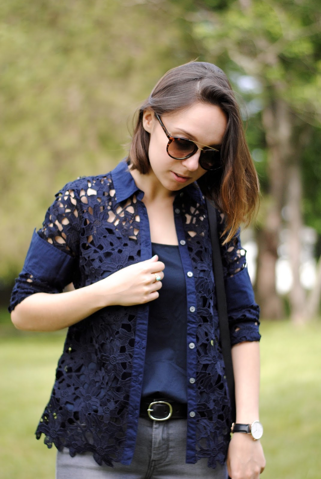 fall outfit lace button down