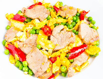 Chinese food - Fried pork, pea, chili and egg