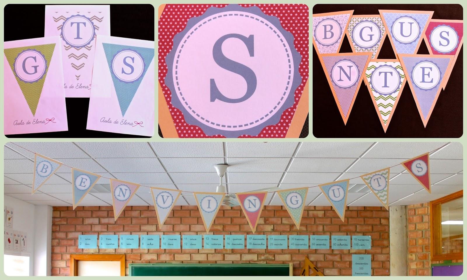 Alfabeto en forma de banderines aula de elena - Formas de letras para decorar ...