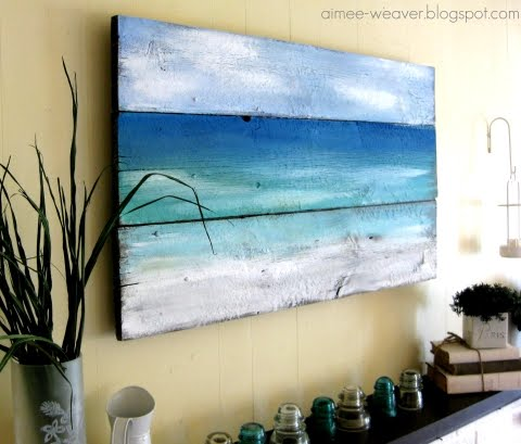 diy sea painting on wood