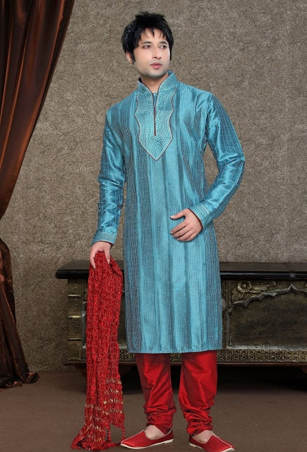 Turquoise Blue & Red Art Silk Eid Wear Kurta Pajama