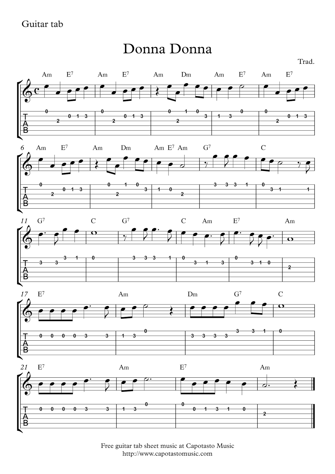 donna donna free guitar tab sheet music. Black Bedroom Furniture Sets. Home Design Ideas
