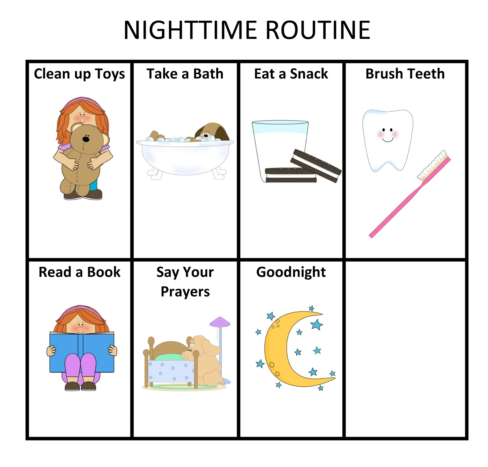 Ourhomecreations Morning And Nightime Routine Charts