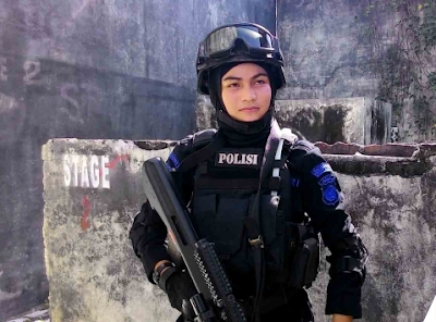 Bripda Nina Oktaviana, penembak jitu, penembak jitu wanita, penembak jitu cantik, Wanteror Gegana Brimob Polda Aceh, Wanteror Gegana, Brimob Polda Aceh, pasukan organik perlawanan terorisme, wanteror