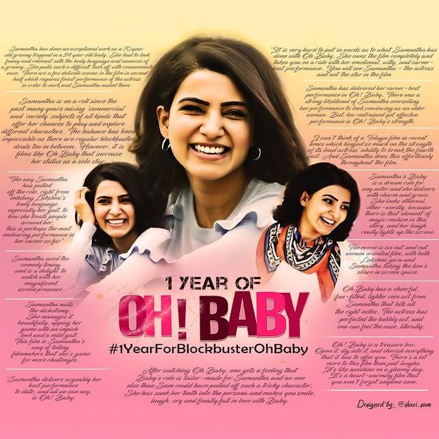 Indian actress Samantha Akkineni Celebrates 1 year of Oh! Baby
