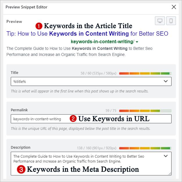 Place Keywords in the Meta Description