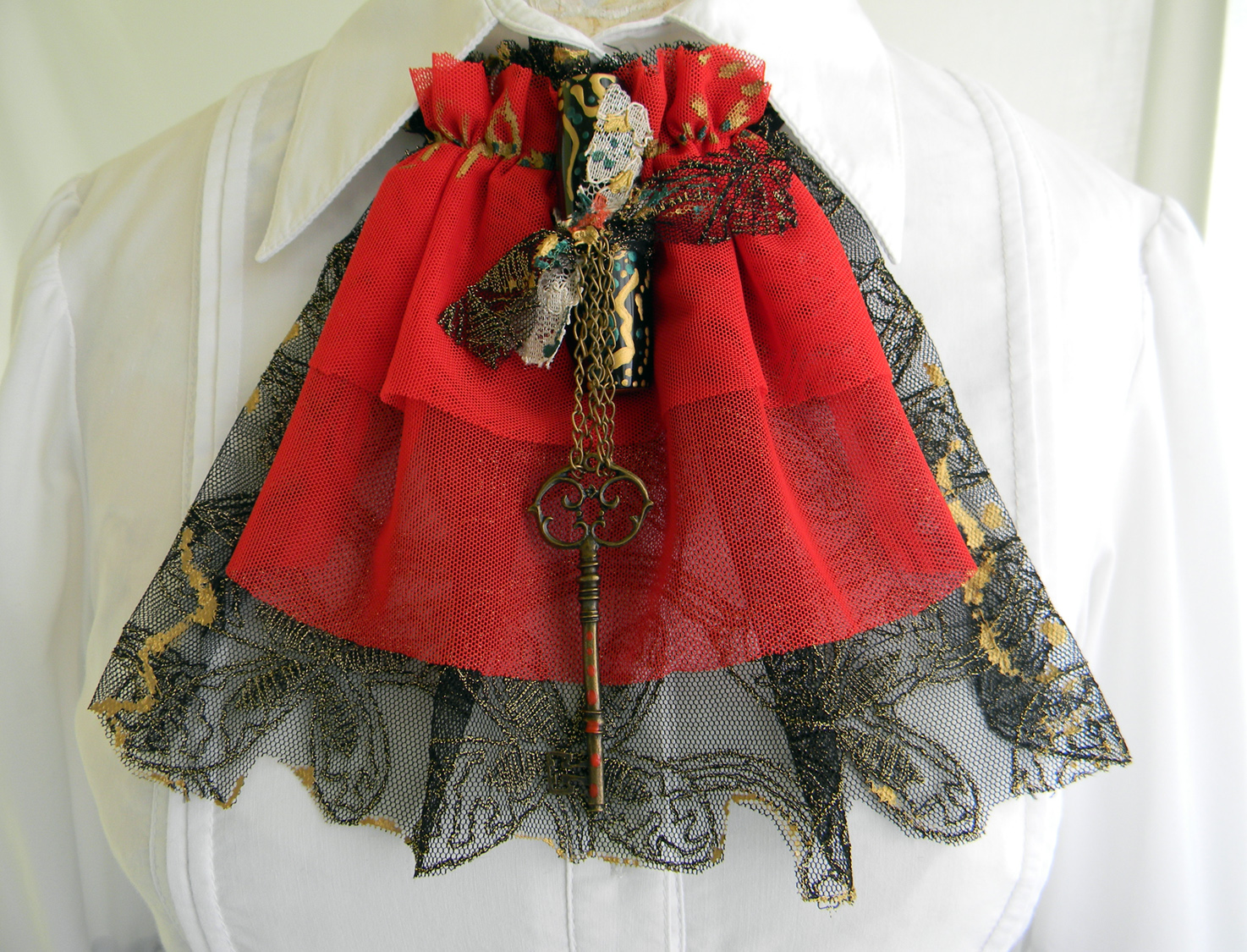 Steampunk Victorian Jabot Handmade Fashion Accessory