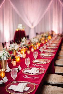 wedding table setting deep red