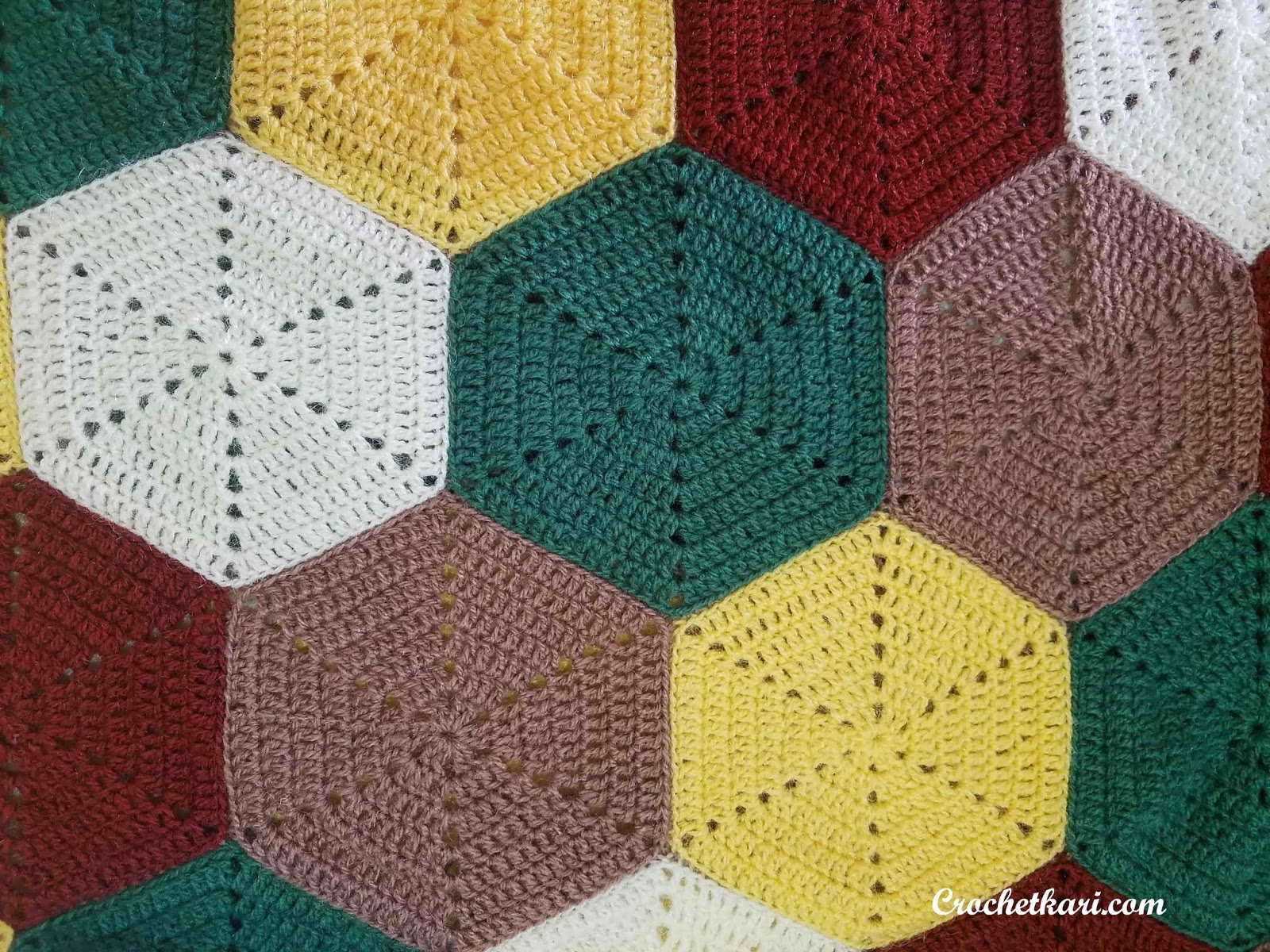 Crochetkari Crochet Hexagon Blanket Free Pattern
