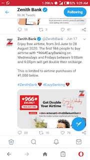 How to get free #1000 Airtime with Zenith bank 100% Airtime bonus