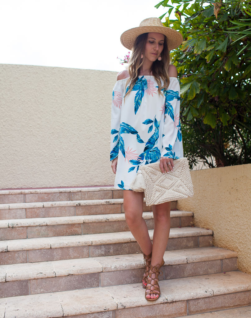 A tropical off the shoulder dress perfect for vacation.