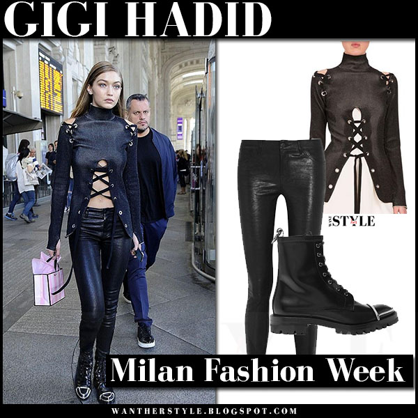 Gigi Hadid in black lace up top proenza schouler, black leather j brand 8001 pants and black boots alexander wang lyndon what she wore milan fashion week