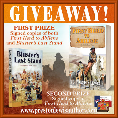 First Herd to Abilene tour giveaway graphic. Prizes to be awarded precede this image in the post text.