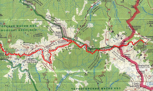 Карта маршрута Заросляк – Говерла – Петрос – урочище Менчил