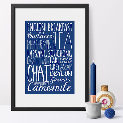 'Tea' Bespoke Word Theme Print shown in a classic blue shade