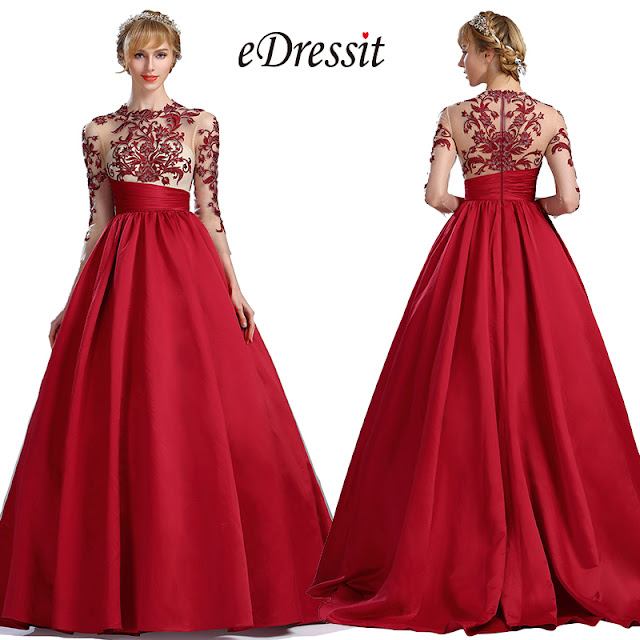 eDressit Red Long Sleeves Embroidery Prom Dress