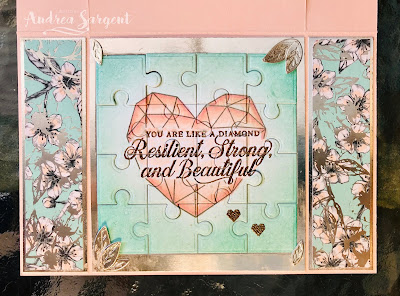 Andrea Sargent, Social Stamping, 3 Layer Spanner card, Parisian Blossoms, Modern Heart, Puzzle Pieces, Stampin Blends, Mini Catalogue, Stampin Up, Strong & Beautiful