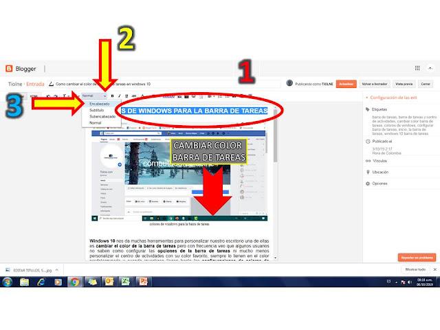 para colocar un encabezado en blogger solo debes seleccionar el título y seleccionar el formato encabezado una vez haces esto si revisas el código html notarás que el titulo queda con la etiqueta h2