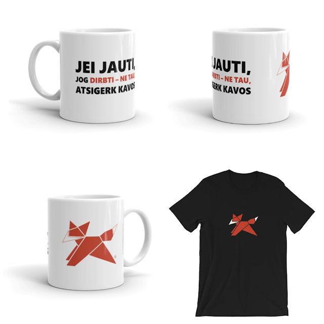 Unikalūs puodeliai su užrašais ir unisex marškinėliai su logotipu.
