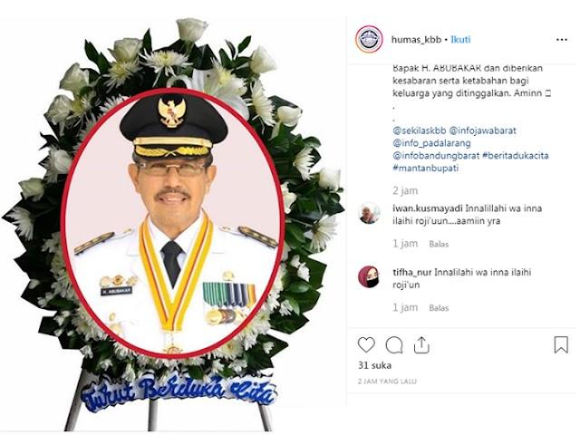 Abubakar Mantan Bupati Kabupaten Bandung Barat Berpulang