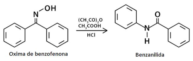 Reação conversão da oxima de benzofenona em benzanilida