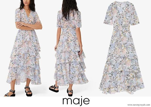 Princess Marie wore MAJE Ruffle floral-print crepe midi dress