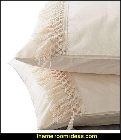 Flber Tassel Sham Set Cotton Pillow Covers