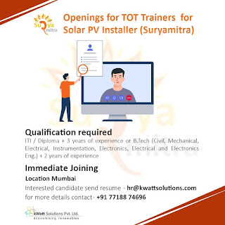 ITI / Diploma/ B.Tech Experienced Candidates Openings for TOT Trainers for Solar PV Installer Suryamitra in Mumbai Location