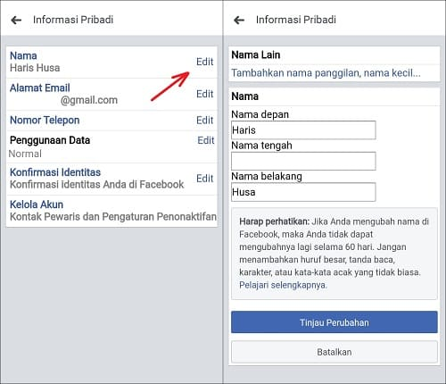 Cara Membuat Facebook Tanpa Nama