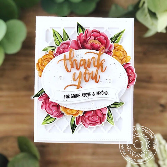 Sunny Studio Stamps: Peony Floral Thank You Card by Mayra Duran-Hernandez (using Words of Gratitude, Pink Peonies, Stitched Oval 2, Frilly Frames Quatrefoil & Slimline Scalloped Frame Dies)