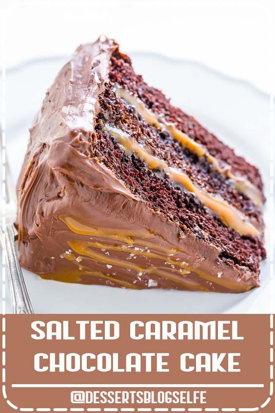 Three layers of Salted Caramel Chocolate Cake slathered in homemade Chocolate Frosting. So decadent! Holy YUM this Salted Caramel Chocolate Cake was so good! #DessertsBlogSelfe #chocolate #cake #saltedcaramel #caramel #birthdaycake #BirthdayDesserts