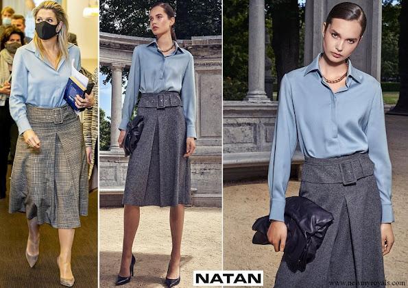 Queen Maxima wore Natan stretch silk crepe shirt