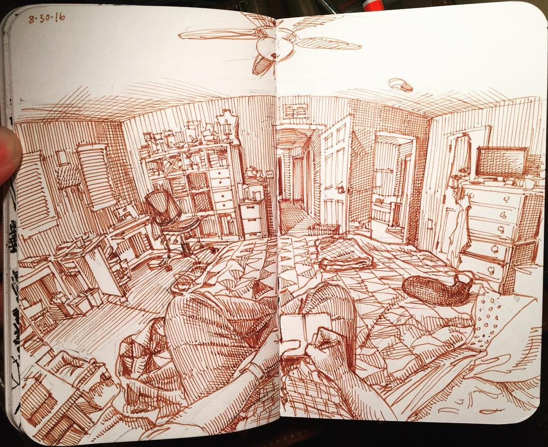 01-Bedroom-with-Dog-Paul-Heaston-Urban-Sketcher-Inserts-Himself-in-the-Drawing-www-designstack-co