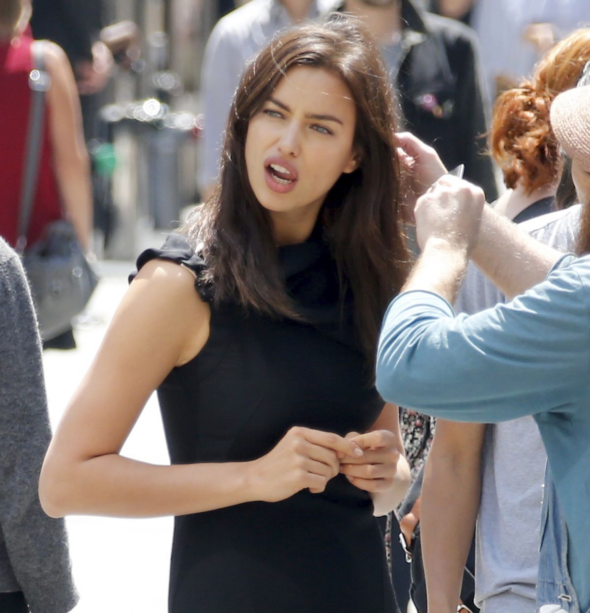 Irina Shayk on the set of a Photoshoot in New York City