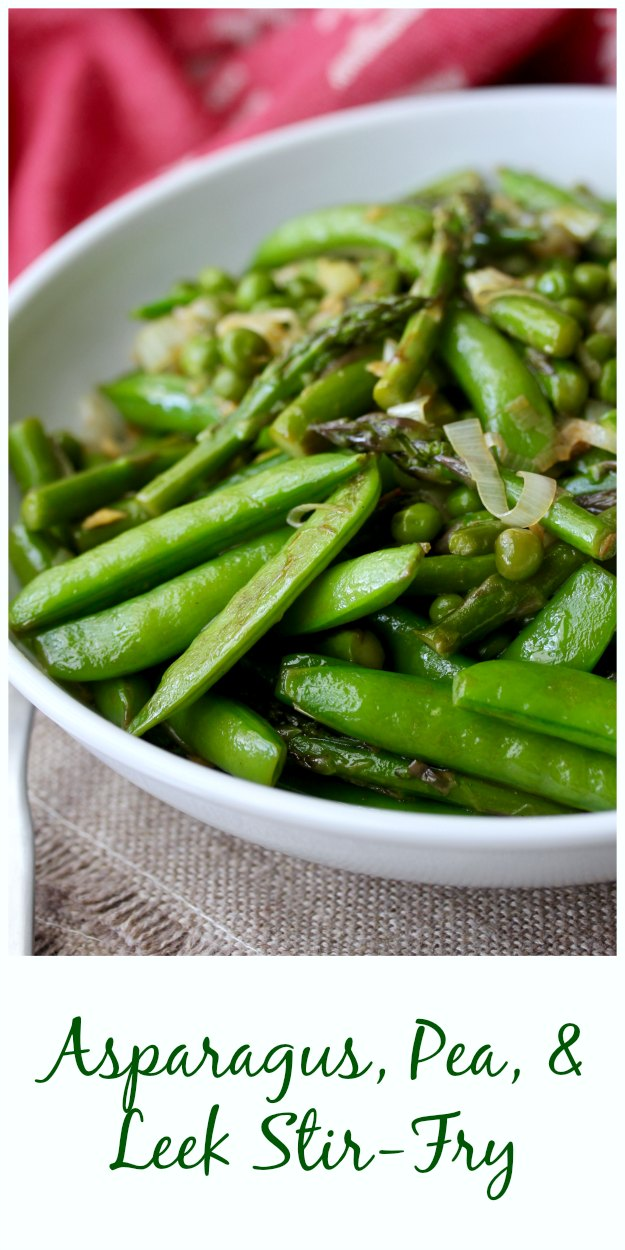 Asparagus, Pea, & Leeks, stir fried with hoisin and soy sauce