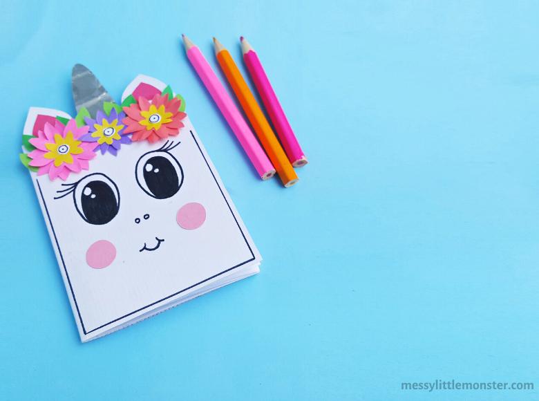 DIY notebook unicorn craft