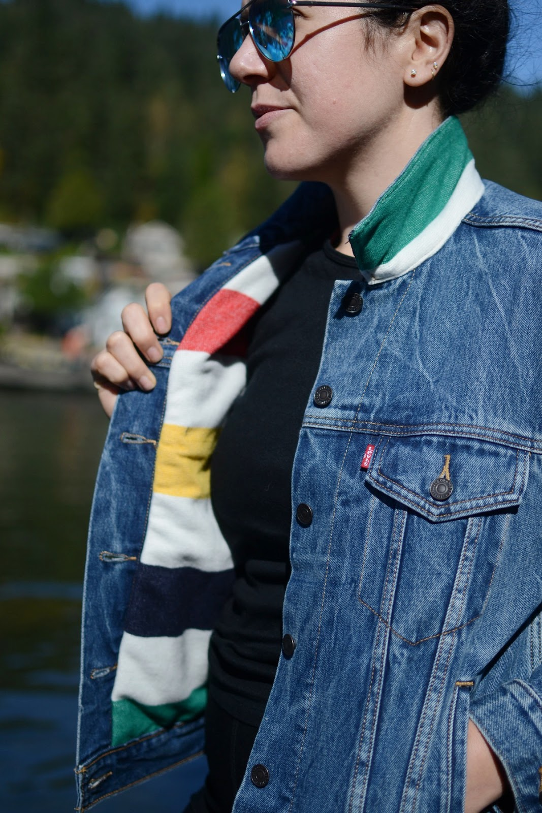 Hudsons bay x levis trucker jacket point blanket vancouver fashion blogger interior lining