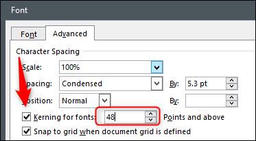 تطبيق المسافات بين الحروف لحجم الخط أو أعلى القاعدة