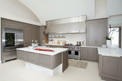 Fantastic Gray Countertops and White Kitchen Floor Design