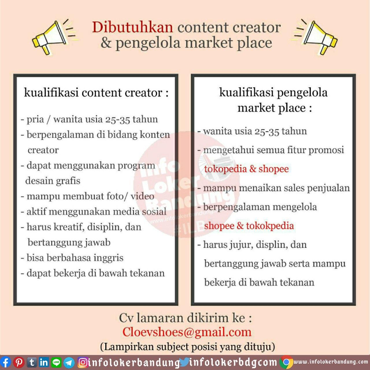 Lowongan Kerja Content Creator & Pengelola Market Place Cleove Shoes Bandung Juni 2020