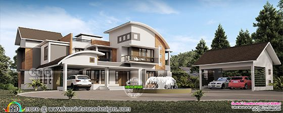 5 bedroom luxurious mixed roof house with outdoor fountain