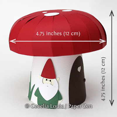 Paper Mushroom Gift Box SVG File for Cricut Explore Silhouette - Measurements