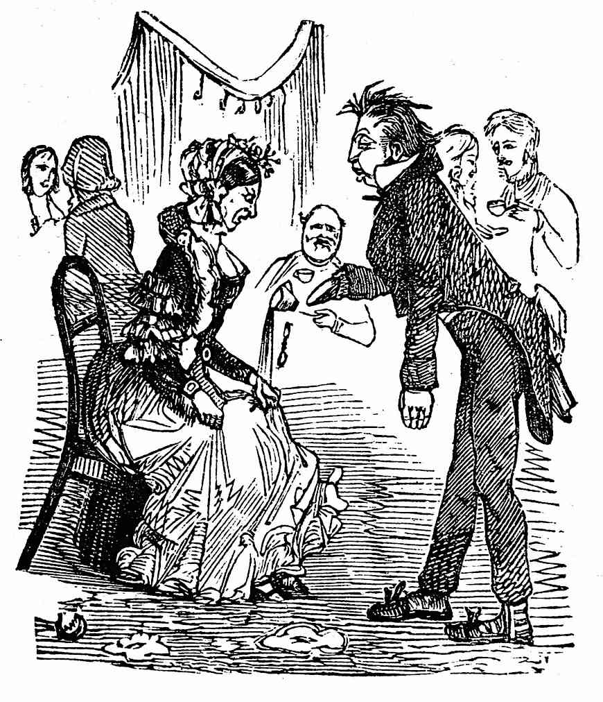 a clumsy server cartoon in an 1855 humor publication