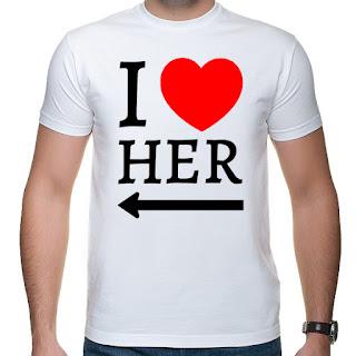 koszulki dla par I love her