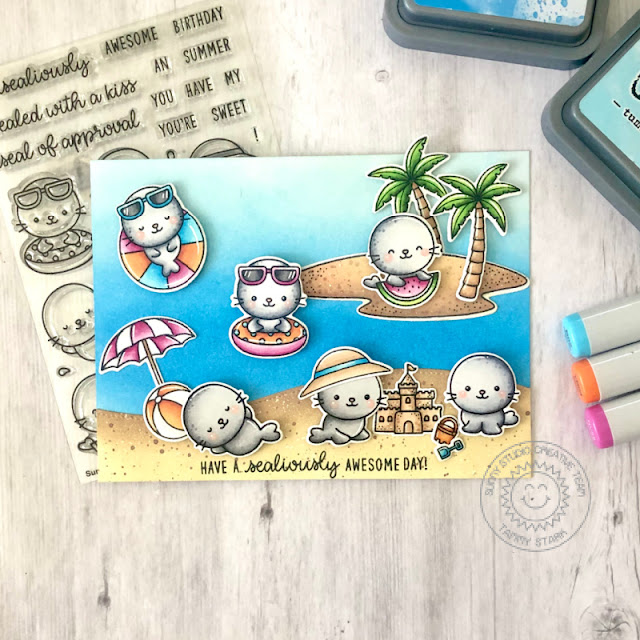 Sunny Studio Stamps: Sealiously Sweet Tropical Scenes Beach Babies Summer Themed Card by Tammy Stark